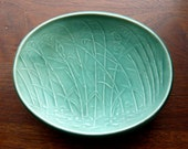 Eslau of Denmark Matte Green Shallow Oval Seagrass Bowl