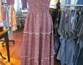 Vintage 70's Burgundy Peasant Hippie Boho Prairie Long Floral Maxi Dress - S-M
