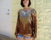 Vintage 70's  Bronze Sequin Hippie Disco Top Shirt Blouse M-L