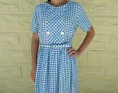 Vintage 50's Aqua Pleated Bombshell Pinup Belted Party Dress - S-M