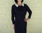Vintage 40's WWII Bow War Navy Dress - S-M