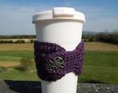 Crochet Coffee Cozy Purple with Decorative Button