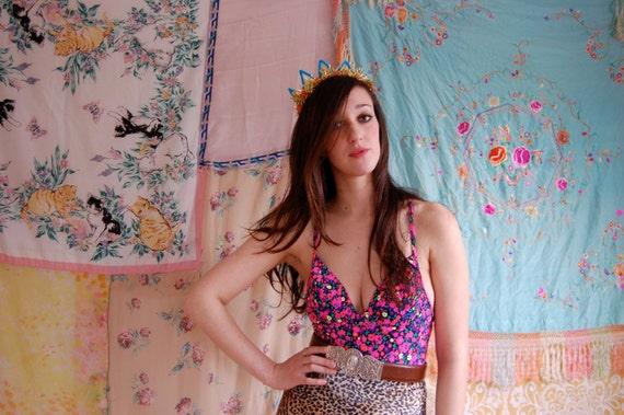 Bright floral bathing suit
