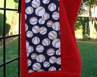 Baseballs Hooded Bath Towel