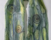 Unique Hand painted Silk Scarf. Fashion Soft Long Shawl Wrap. Multicolor--Yellow Green Light Khaki Olive Grey. 60'' x 15''