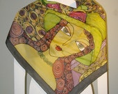 Unique Art Hand Painted Silk Scarf. Fashion Soft  Shawl Wrap. Woman.  Faces. Lilac Olive Green Red Purple Black. 100% silk. Free shipping