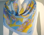 Hand painted silk scarf. Blue butterfly. Blue. Yellow. Lilac. Size : 35'' x 35'' Free shipping in the United States