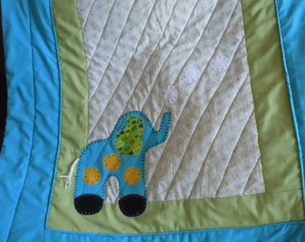 Adorable 2 -pieces, Bubbles the Elephant Baby Quilt w/ coordinating pillow
