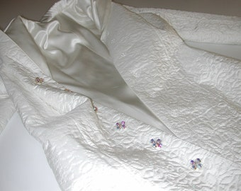 """No. 500 . . . Custom Order for a Hand Quilted White SIlk Coat with 30mm Silk Charmeuse Lining  Bust 43"""" Approximately Size 18"""