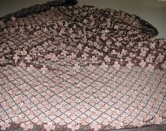 No. 200 Holiday Party Dress Fabric for Spectacular Hand Beaded & Embroidered Pink/Salmon Black Silk Tulle Yardage