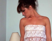 Sexy Romantic White Lace Tiered Sheer and Sexy Top-Very Sheer-Made to order