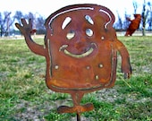 Garden decor humor yard stake Happy Toast Man