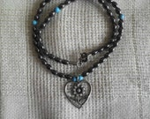 """REDUCED, 16""""  Necklace with Pendant made with Hemitite & Howlite"""
