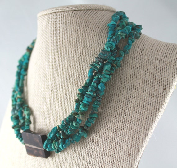 Turquoise and Petrified Wood Necklace