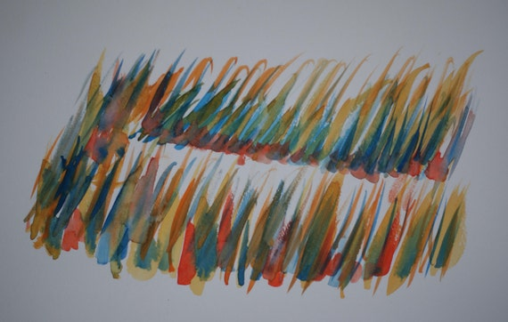 Sea Grass of Many Colors, Original Abstract Watercolor Painting, Colorful, Transparent, Yellow, Green, Red, Blue