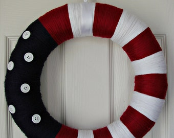 Patriotic Red White and Blue yarn wrapped wreath