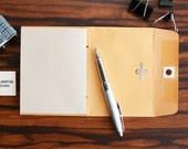 Handmade Mini Notebook: Envelope Pocket Travel Scrapbook Memo Pad Jotter - Golden Brown Kraft Clasp Single Pocket Cover