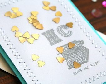 """Personalized Custom Happy Anniversary Card or Happy Valentine's Day Card - Hand Stamped Initials """"Just My Type"""" Gold Hearts Confetti Design"""