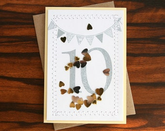 Personalized Custom Handmade Happy Anniversary Card - Hand Stamped Year(s) Gold & Silver Hearts Confetti Design