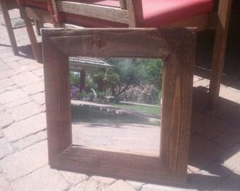 dark stained doug fir mirror