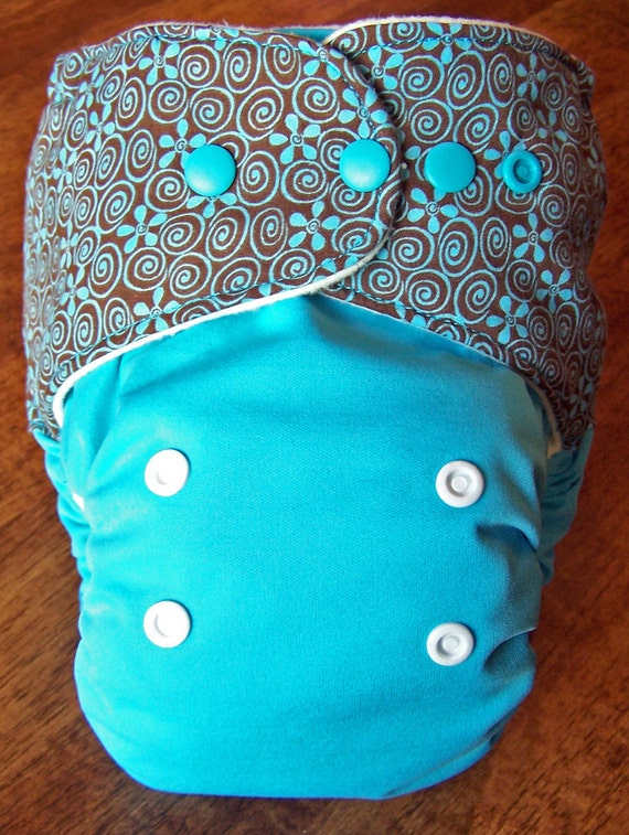 Cloth Diaper All in One (AIO)  One Size 12-35 Pounds Cotton and Bamboo Teal and Brown Flowers Snaps Cotton inner