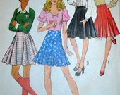 Vintage Circular Mini Skirt and Godet Skirt Pattern Simplicity 5748 Size 12 Waist 26 1/2
