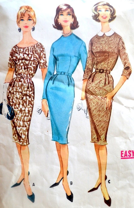 Vintage Misses Dress Rockabilly Classy Pattern - McCall's 5553 - Sz 16, Bust 36, Waist 28, Hips 38, 1960 Belted