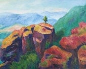 "Oil Canvas Rocks Landscape Original Painting ""Standing Alone"" by Thomas Stellmacher"