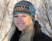 womens crocheted earflap hat