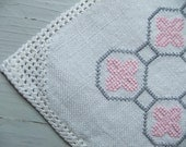 RESERVED FOR KAYO Vintage Swedish Sweet tablecloth Embroidery in gray pink and white