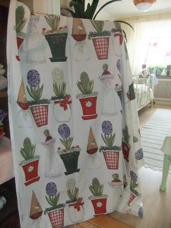 SALE Swedish vintage Fabric Hyacinths by Mia Stavåsen