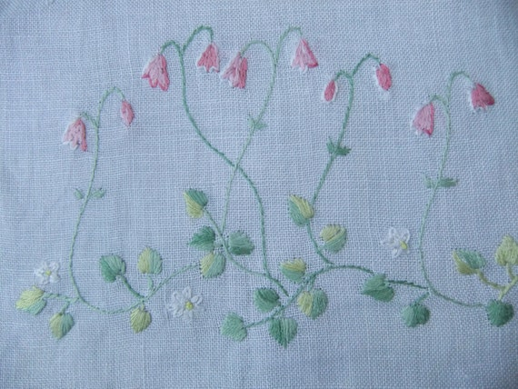 Vintage Swedish 1960s Embroidered tablecloth with sweet linnea