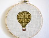 hot air balloon - hand embroidery hoop