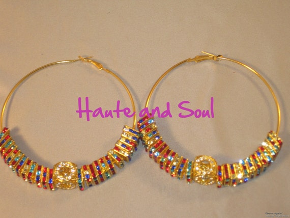 Sale Basketball Wives Muliticolor Square Bling Hoops Poparazzi inspired