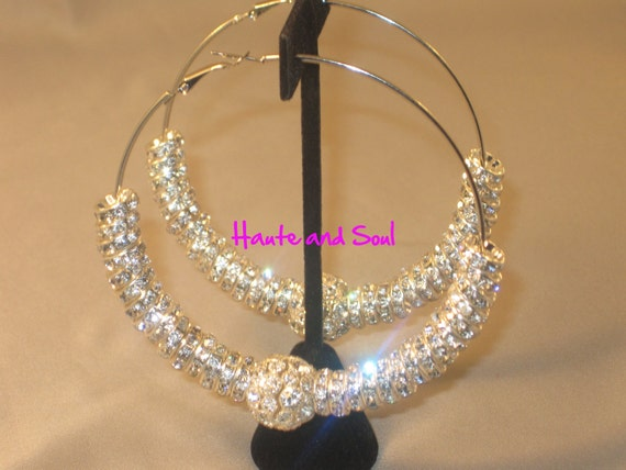 Sale Basketball Wives Silver Pave Ball Bling Hoops Poparazzi inspired