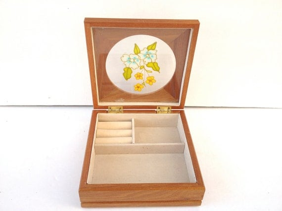 Vintage Wood Jewelry Box With Stained Glass Flowers