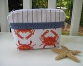 Zippered Cosmetic Bag in Nautical Going Coastal Print - Orange Crabs