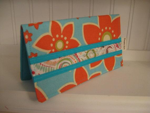 Fabric Checkbook Cover - Tangerine Flowers