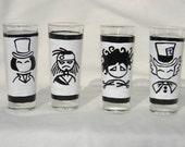 Johnny Depp Inspired Hand Painted Shot Glasses (Set of Four)
