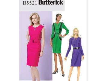Butterick Sewing Pattern B5521 - Misses' Dress and Belt (6-12 or 14-20)