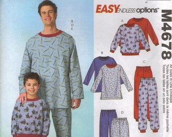 McCall's Sewing Pattern M4678 - Men's & Boys' Pajama Tops, Pants, and Socks