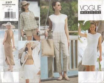 Vogue Sewing Pattern 2317 - Misses' Jacket, Bandeau, Dress, Top, Shorts & Pants (6-10 and 18-22)
