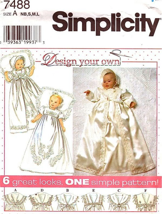 Simplicity Sewing Pattern 7488 - Babies' Christening Gown, Coat, Bonnet