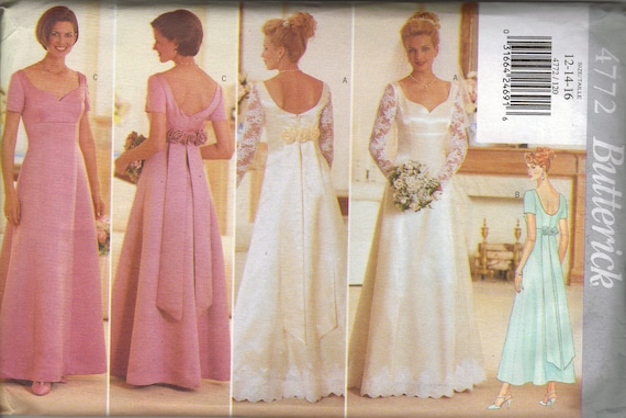 Butterick Sewing Pattern 4772 - Wedding and Bridesmaid's Dresses (12-16)