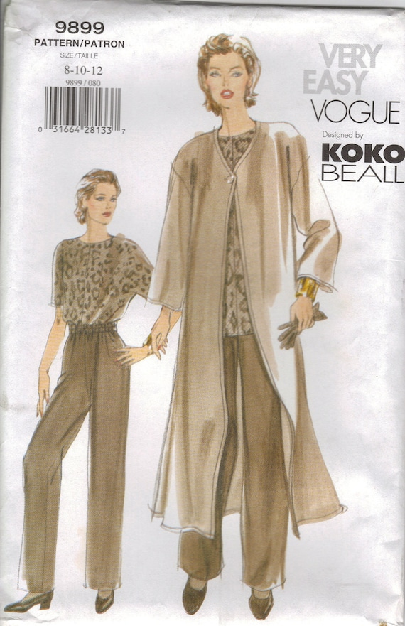 Vogue Sewing Pattern 9899 - Misses' Duster, Top & Pants (14-18)