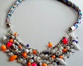 Rope Necklace with Vintage Lucite, Swarovski Crystal and Neon Beads