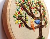 Hand Embroidered Wall Art - The birds on the tree, colorful home decor, love, birds, 4 inch hoop, kawaii, custom work available