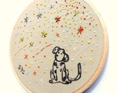 Japanese Calligraphy with Hand Embroidered Dalmatian, custom work available - kawaii, dog lovers, kids room, 4 inch hoop, stars