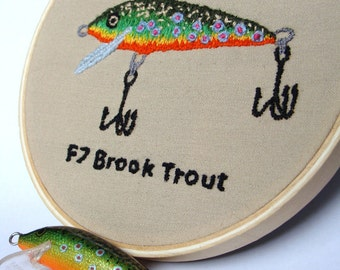 Custom needlework present ideal for husbands, any fishing lure, hand embroidery, Rapala approved, 4 inch hoop