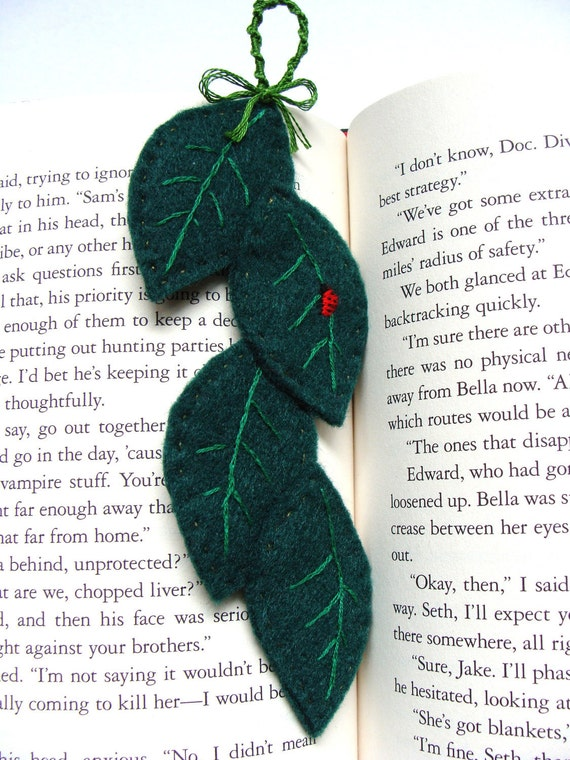 Hand Embroidered Ladybug on Leaves Bookmark, custom work available   - Ladybug with leaves, nature lover, great gift for book lovers